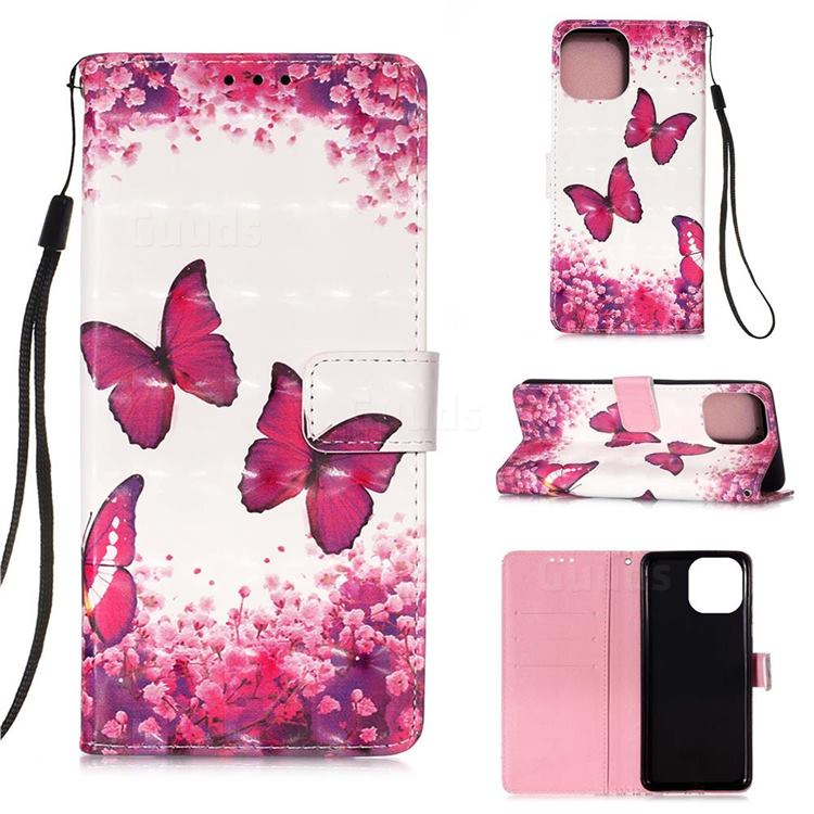 Rose Butterfly 3D Painted Leather Wallet Case for iPhone 13 mini (5.4 inch)