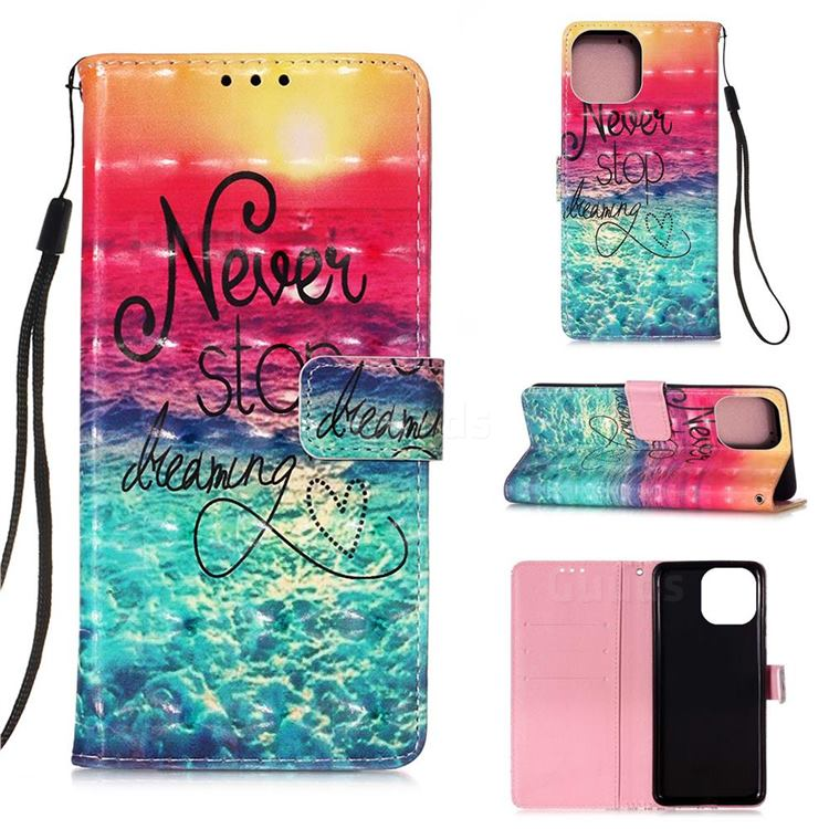 Colorful Dream Catcher 3D Painted Leather Wallet Case for iPhone 13 mini (5.4 inch)
