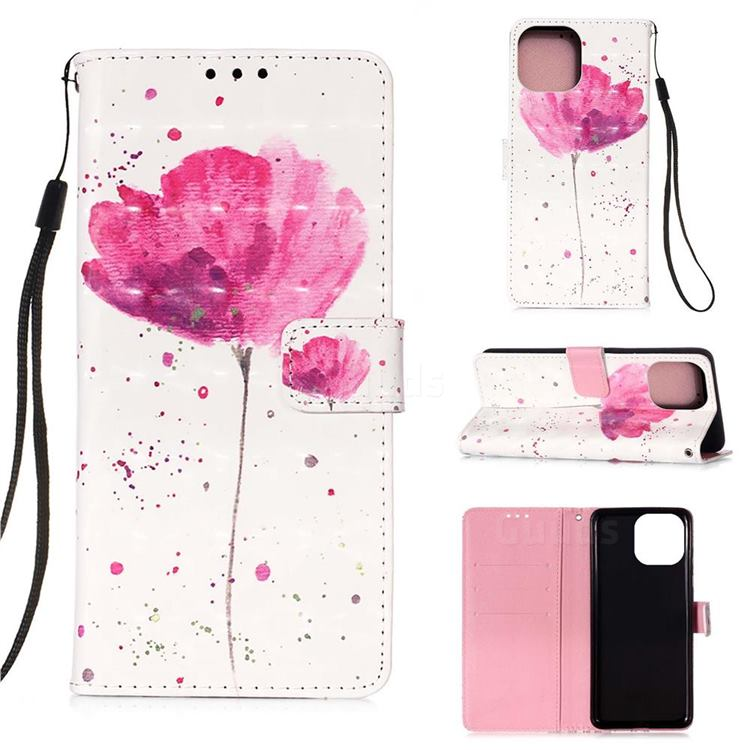 Watercolor 3D Painted Leather Wallet Case for iPhone 13 mini (5.4 inch)