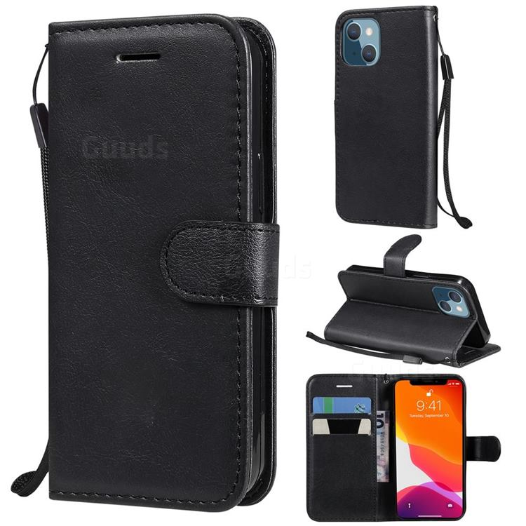 Retro Greek Classic Smooth PU Leather Wallet Phone Case for iPhone 13 mini (5.4 inch) - Black