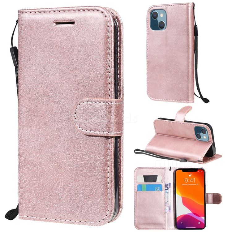 Retro Greek Classic Smooth PU Leather Wallet Phone Case for iPhone 13 mini (5.4 inch) - Rose Gold