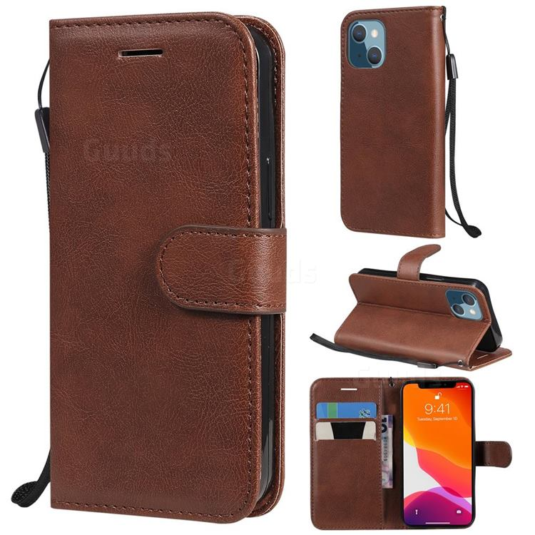 Retro Greek Classic Smooth PU Leather Wallet Phone Case for iPhone 13 mini (5.4 inch) - Brown