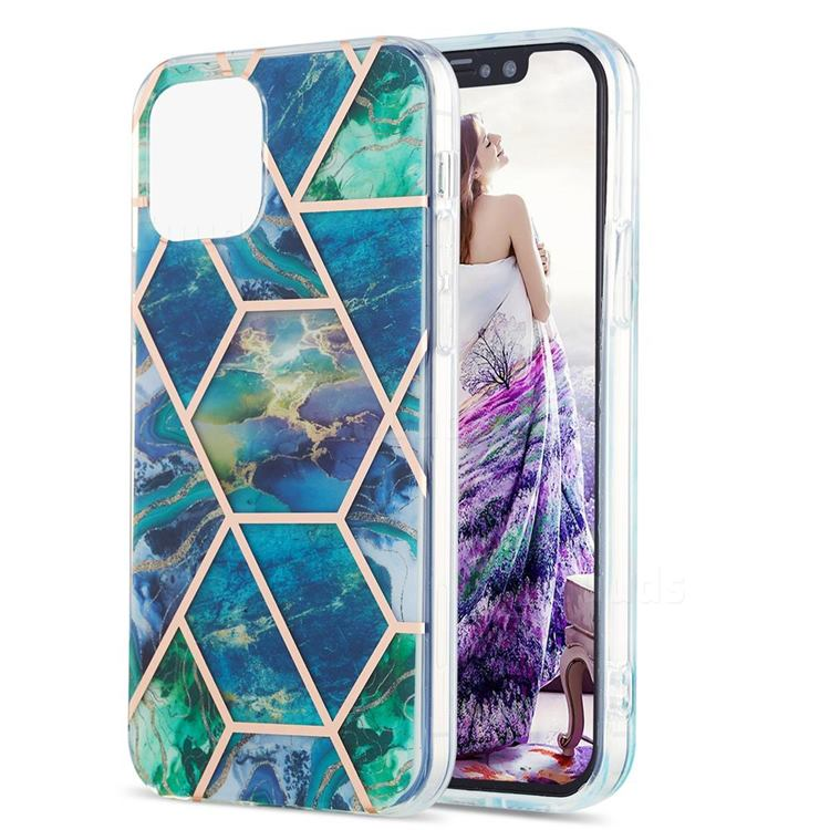 Blue Green Marble Pattern Galvanized Electroplating Protective Case Cover for iPhone 13 Pro (6.1 inch)