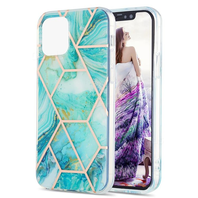 Blue Sea Marble Pattern Galvanized Electroplating Protective Case Cover for iPhone 13 Pro (6.1 inch)