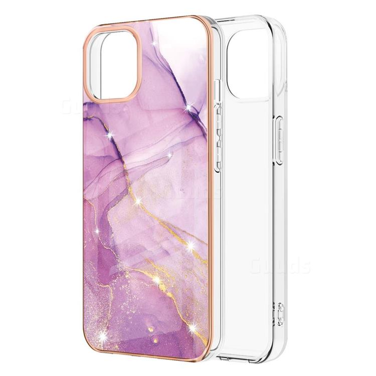 Dream Violet Electroplated Gold Frame 2.0 Thickness Plating Marble IMD Soft Back Cover for iPhone 13 Pro (6.1 inch)