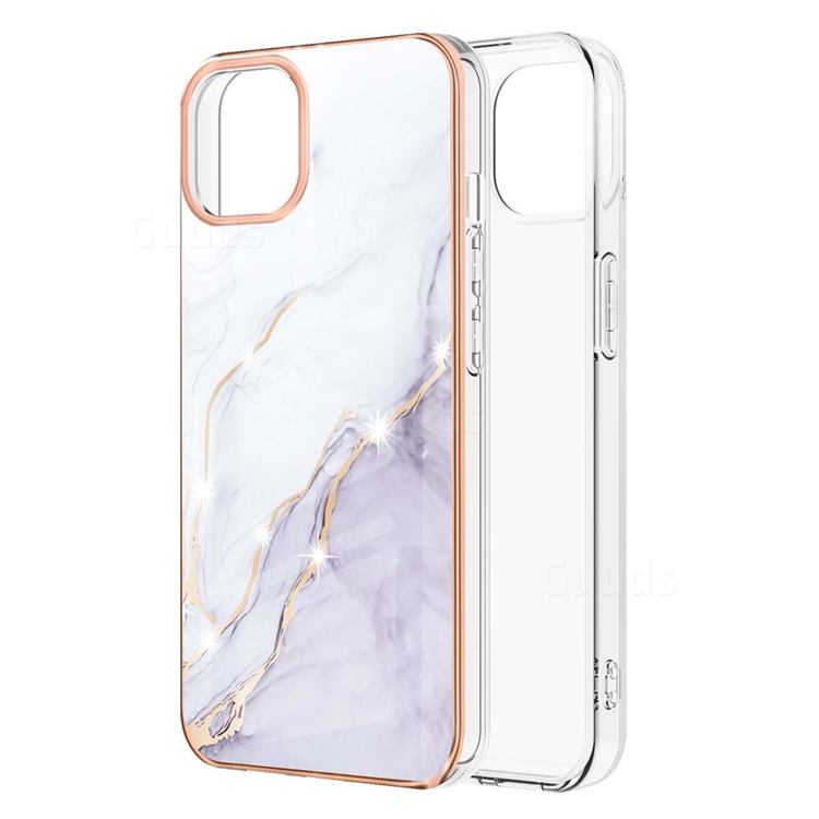 White Dreaming Electroplated Gold Frame 2.0 Thickness Plating Marble IMD Soft Back Cover for iPhone 13 Pro (6.1 inch)