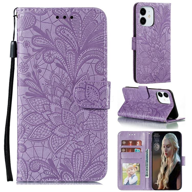 Intricate Embossing Lace Jasmine Flower Leather Wallet Case for iPhone 13 Pro (6.1 inch) - Purple