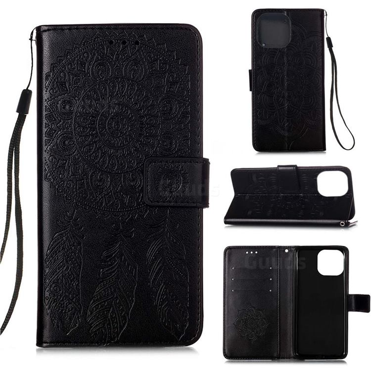 Embossing Dream Catcher Mandala Flower Leather Wallet Case for iPhone 13 Pro (6.1 inch) - Black