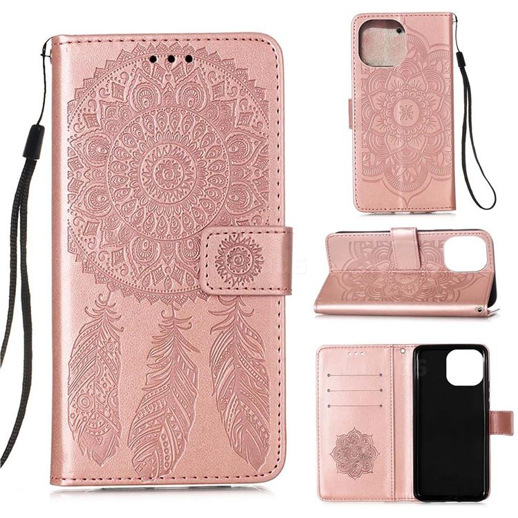 Embossing Dream Catcher Mandala Flower Leather Wallet Case for iPhone 13 Pro (6.1 inch) - Rose Gold