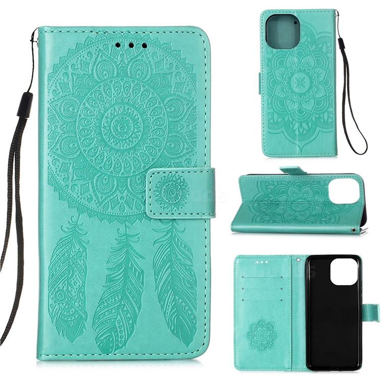 Embossing Dream Catcher Mandala Flower Leather Wallet Case for iPhone 13 Pro (6.1 inch) - Green