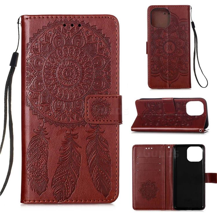 Embossing Dream Catcher Mandala Flower Leather Wallet Case for iPhone 13 Pro (6.1 inch) - Brown