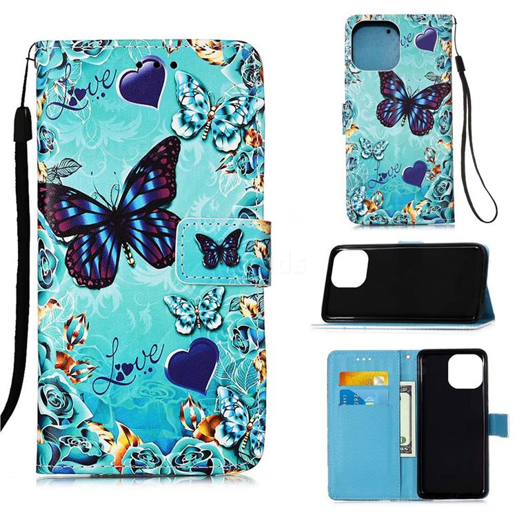 Love Butterfly Matte Leather Wallet Phone Case for iPhone 13 Pro (6.1 inch)