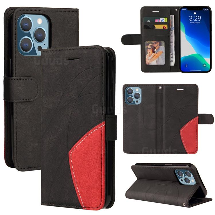 Luxury Two-color Stitching Leather Wallet Case Cover for iPhone 13 Pro (6.1 inch) - Black