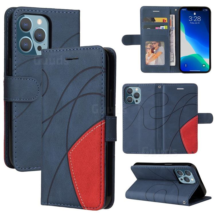 Luxury Two-color Stitching Leather Wallet Case Cover for iPhone 13 Pro (6.1 inch) - Blue