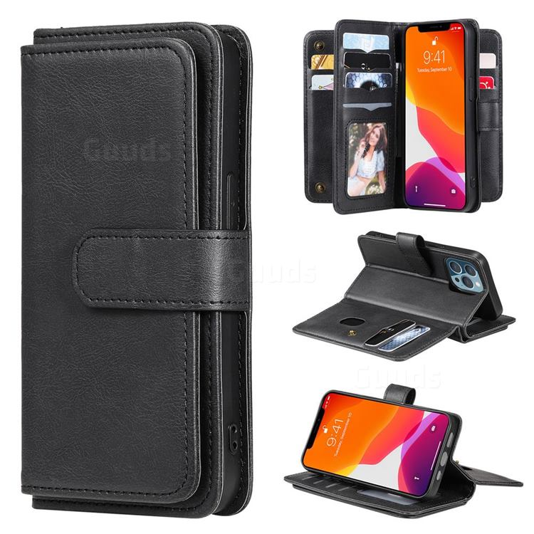 Multi-function Ten Card Slots and Photo Frame PU Leather Wallet Phone Case Cover for iPhone 13 Pro (6.1 inch) - Black