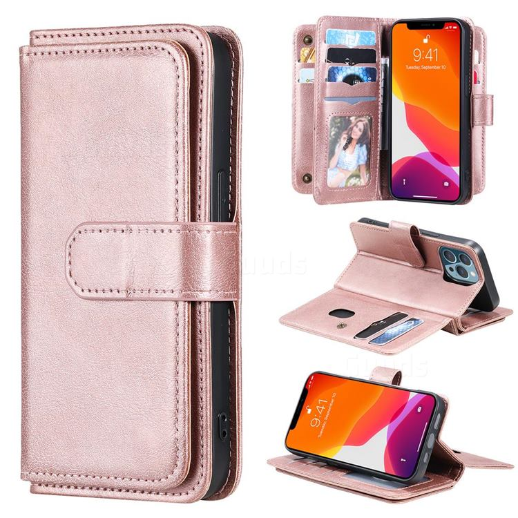 Multi-function Ten Card Slots and Photo Frame PU Leather Wallet Phone Case Cover for iPhone 13 Pro (6.1 inch) - Rose Gold