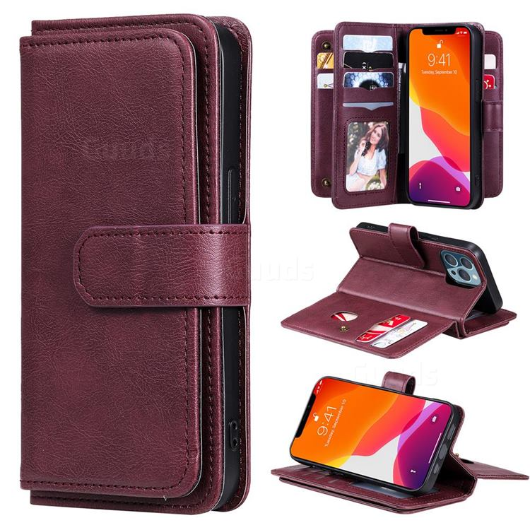 Multi-function Ten Card Slots and Photo Frame PU Leather Wallet Phone Case Cover for iPhone 13 Pro (6.1 inch) - Claret