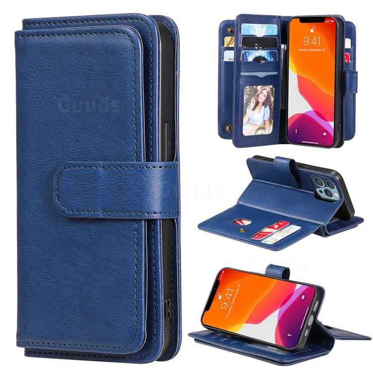 Multi-function Ten Card Slots and Photo Frame PU Leather Wallet Phone Case Cover for iPhone 13 Pro (6.1 inch) - Dark Blue