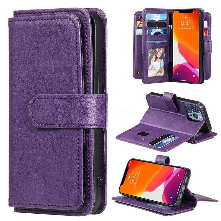 Multi-function Ten Card Slots and Photo Frame PU Leather Wallet Phone Case Cover for iPhone 13 Pro (6.1 inch) - Violet