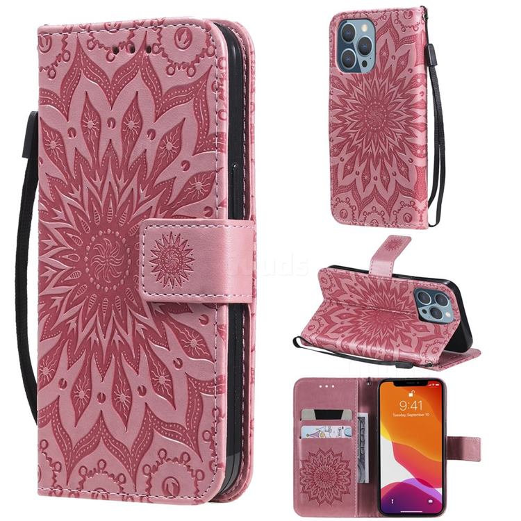 Embossing Sunflower Leather Wallet Case for iPhone 13 Pro (6.1 inch) - Pink