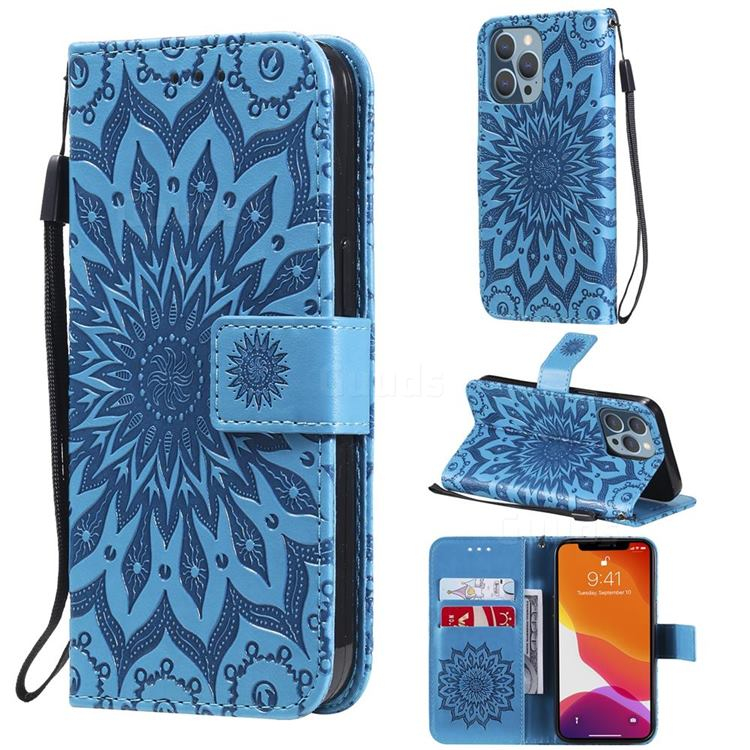 Embossing Sunflower Leather Wallet Case for iPhone 13 Pro (6.1 inch) - Blue
