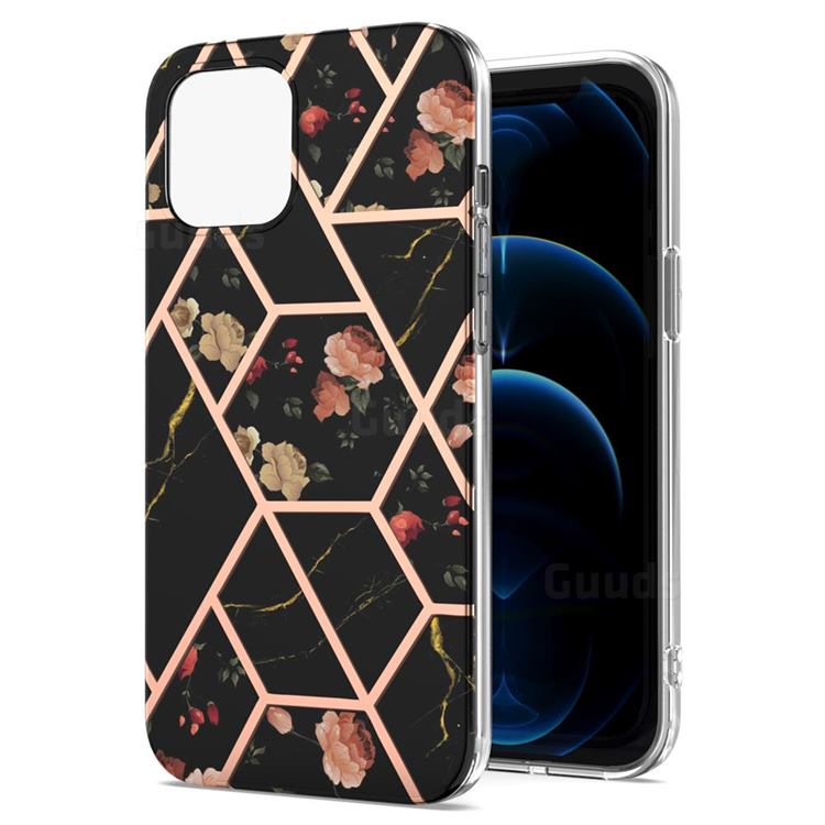 Black Rose Flower Marble Electroplating Protective Case Cover for iPhone 13 Pro (6.1 inch)