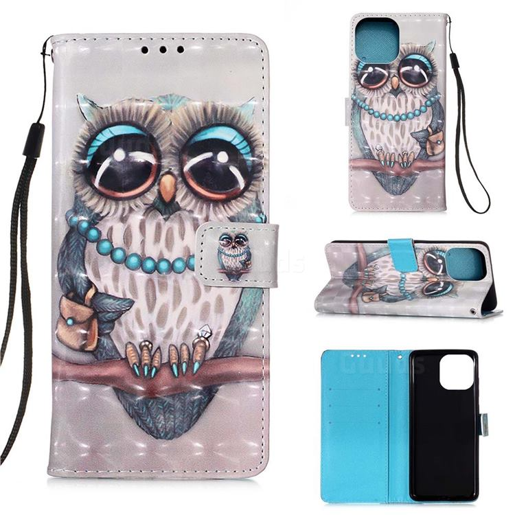 Sweet Gray Owl 3D Painted Leather Wallet Case for iPhone 13 Pro (6.1 inch)