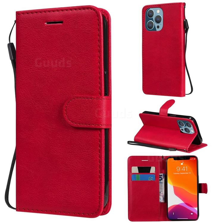Retro Greek Classic Smooth PU Leather Wallet Phone Case for iPhone 13 Pro (6.1 inch) - Red