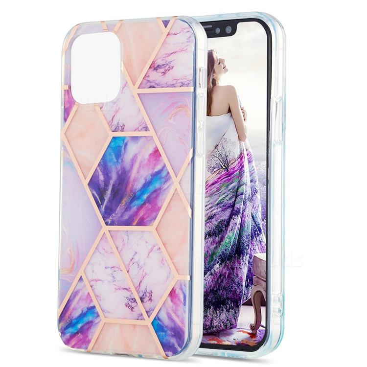 Purple Dream Marble Pattern Galvanized Electroplating Protective Case Cover for iPhone 13 Pro Max (6.7 inch)