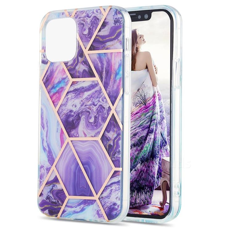 Purple Gagic Marble Pattern Galvanized Electroplating Protective Case Cover for iPhone 13 Pro Max (6.7 inch)