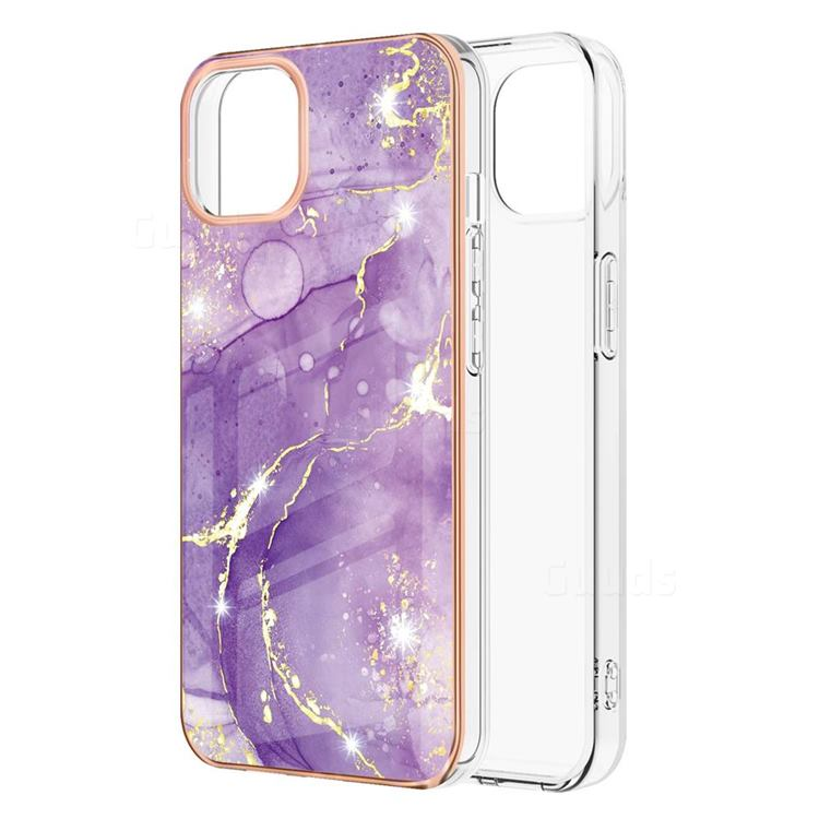 Fashion Purple Electroplated Gold Frame 2.0 Thickness Plating Marble IMD Soft Back Cover for iPhone 13 Pro Max (6.7 inch)