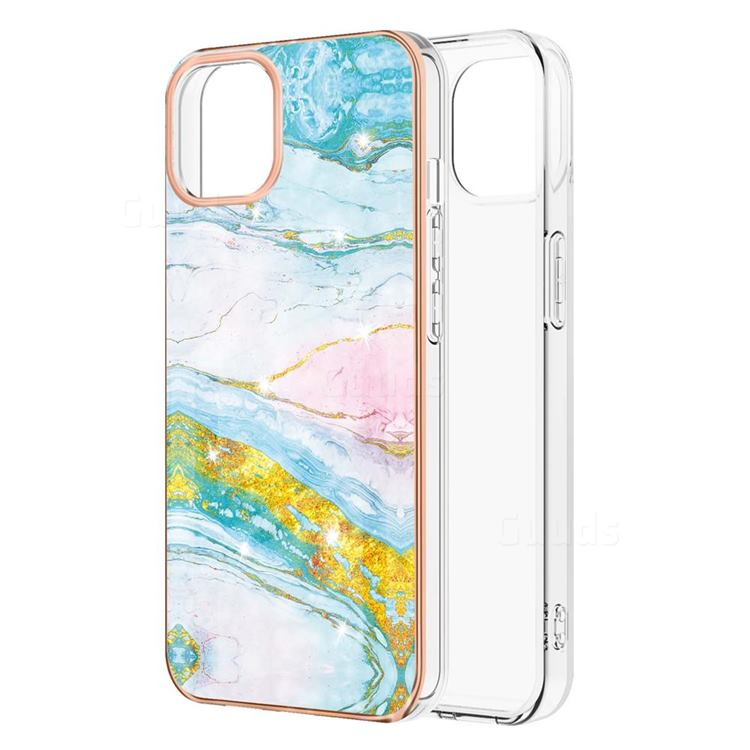 Green Golden Electroplated Gold Frame 2.0 Thickness Plating Marble IMD Soft Back Cover for iPhone 13 Pro Max (6.7 inch)