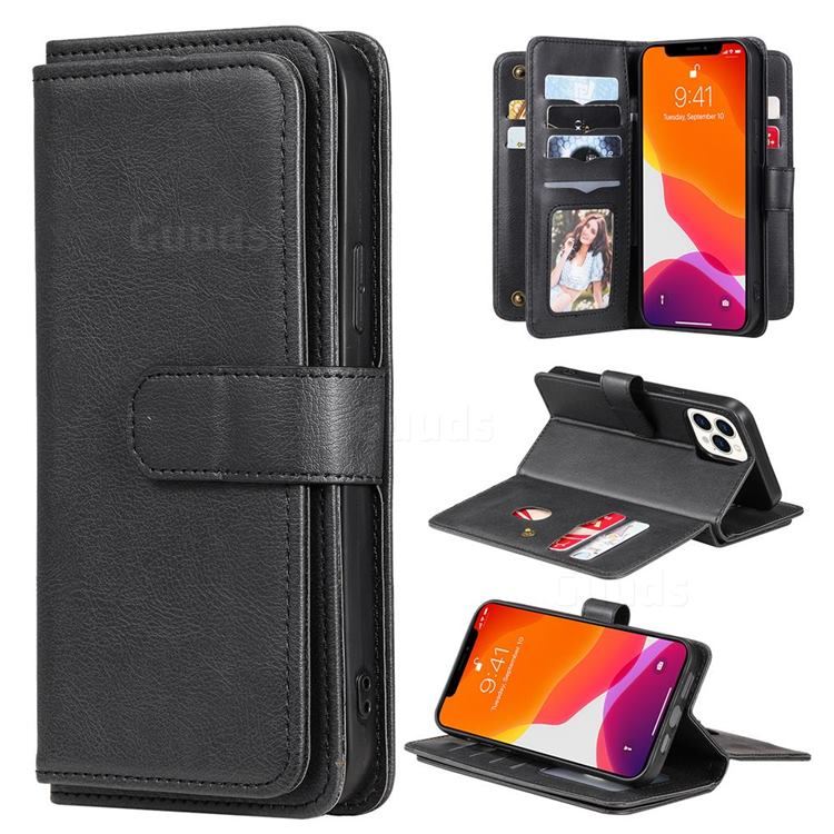 Multi-function Ten Card Slots and Photo Frame PU Leather Wallet Phone Case Cover for iPhone 13 Pro Max (6.7 inch) - Black
