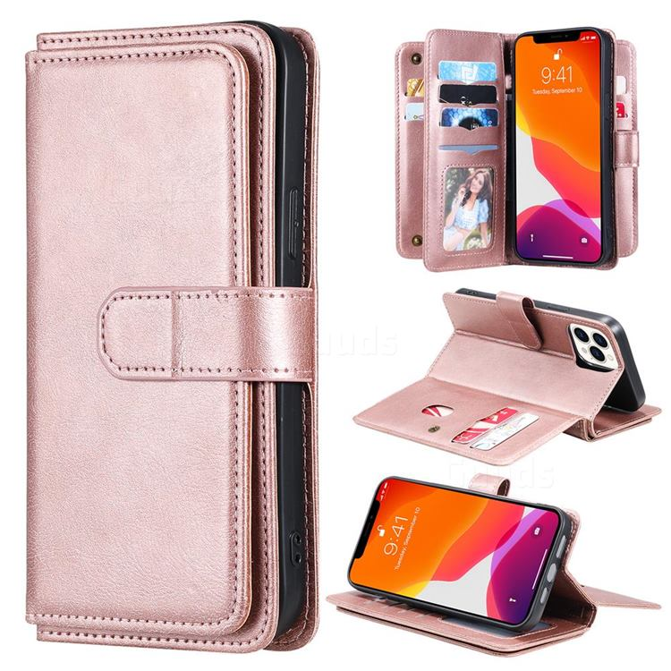 Multi-function Ten Card Slots and Photo Frame PU Leather Wallet Phone Case Cover for iPhone 13 Pro Max (6.7 inch) - Rose Gold