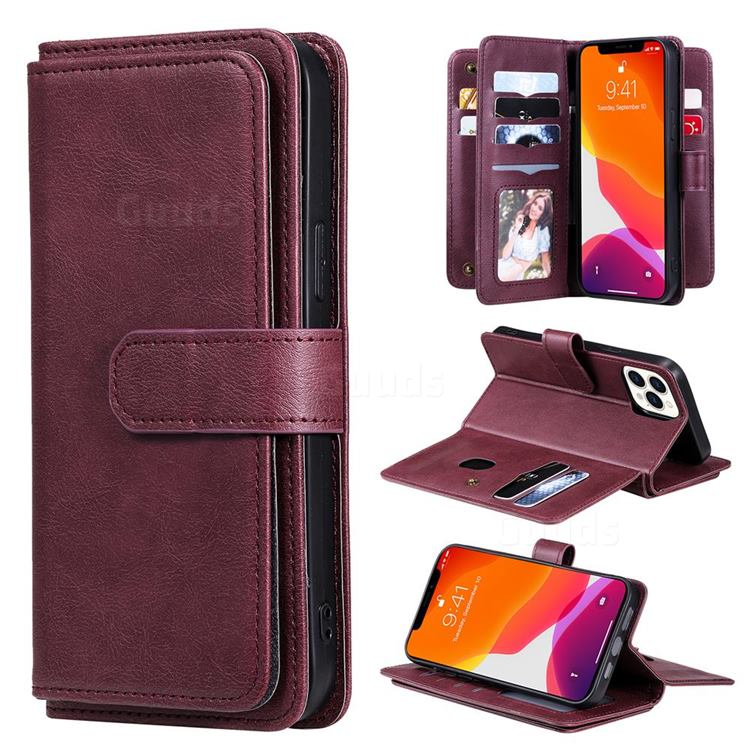 Multi-function Ten Card Slots and Photo Frame PU Leather Wallet Phone Case Cover for iPhone 13 Pro Max (6.7 inch) - Claret