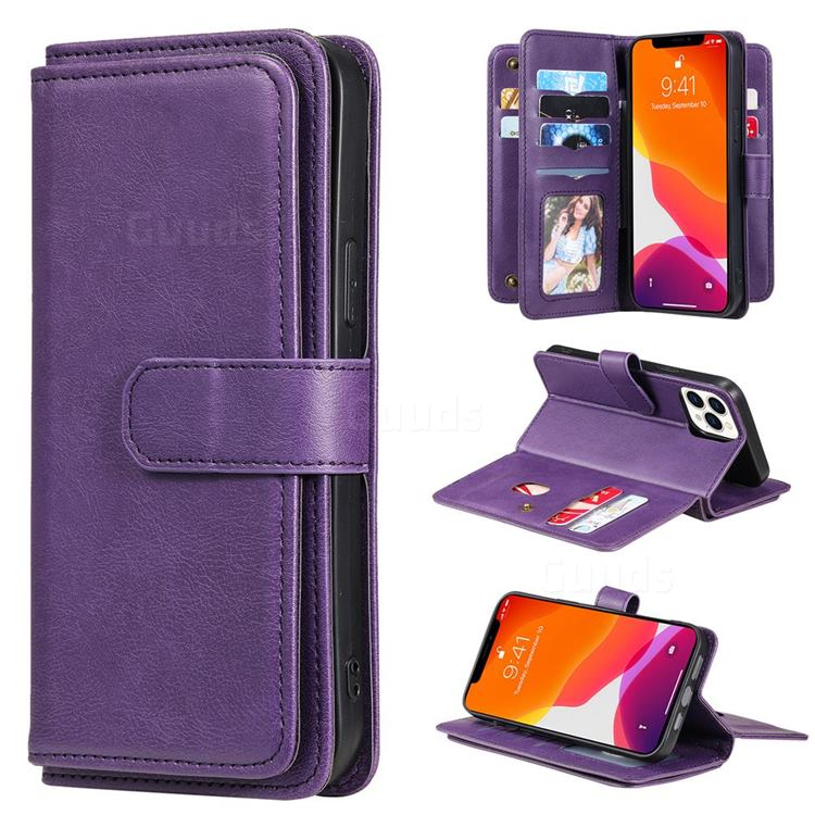 Multi-function Ten Card Slots and Photo Frame PU Leather Wallet Phone Case Cover for iPhone 13 Pro Max (6.7 inch) - Violet