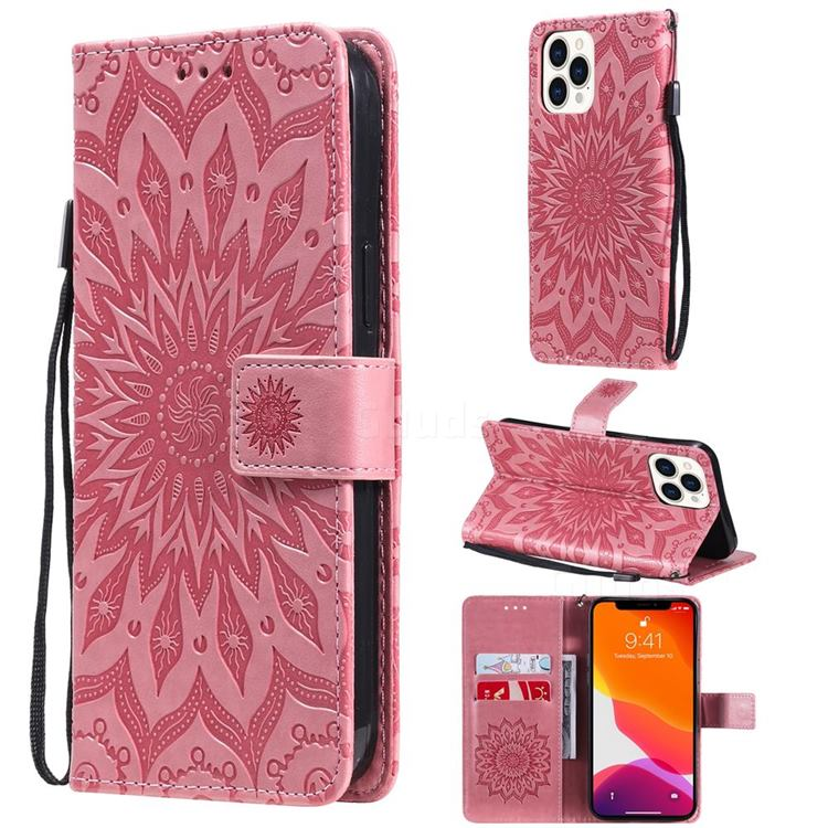 Embossing Sunflower Leather Wallet Case for iPhone 13 Pro Max (6.7 inch) - Pink