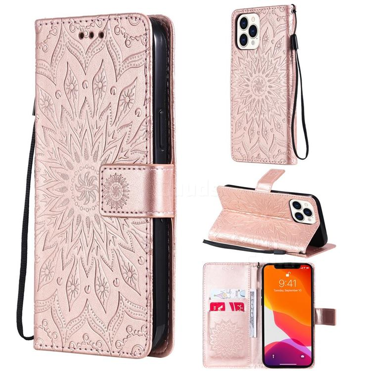 Embossing Sunflower Leather Wallet Case for iPhone 13 Pro Max (6.7 inch) - Rose Gold