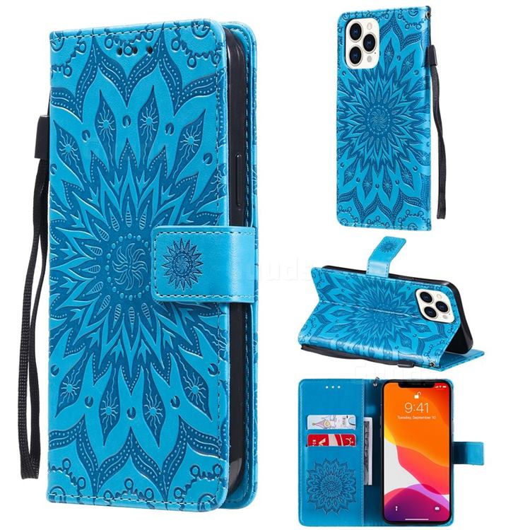 Embossing Sunflower Leather Wallet Case for iPhone 13 Pro Max (6.7 inch) - Blue