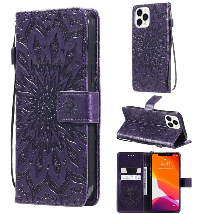 Embossing Sunflower Leather Wallet Case for iPhone 13 Pro Max (6.7 inch) - Purple
