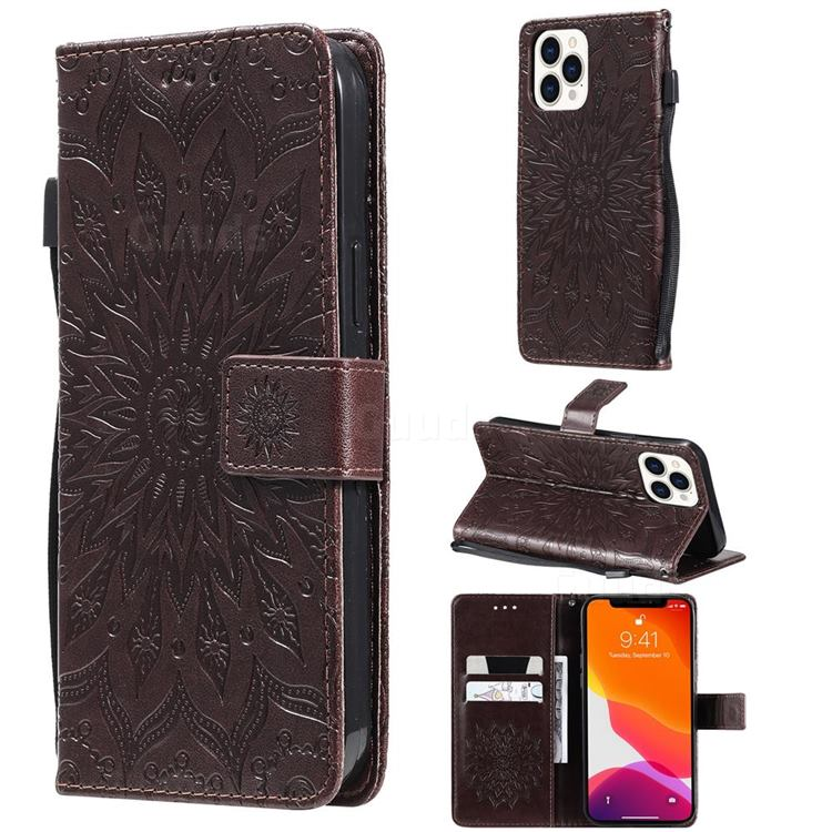 Embossing Sunflower Leather Wallet Case for iPhone 13 Pro Max (6.7 inch) - Brown