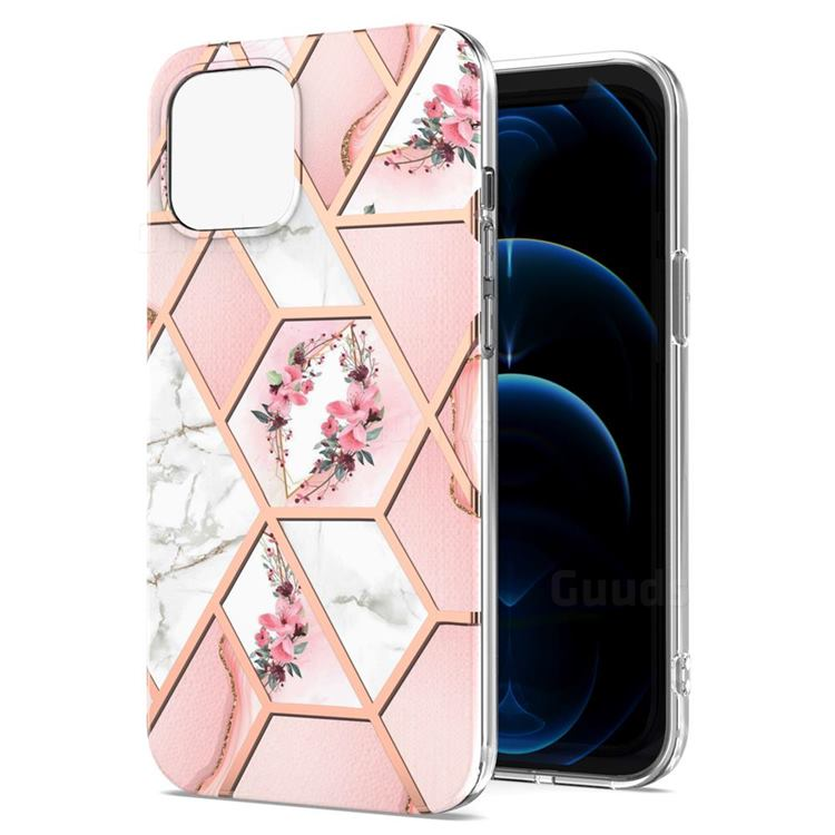 Pink Flower Marble Electroplating Protective Case Cover for iPhone 13 Pro Max (6.7 inch)