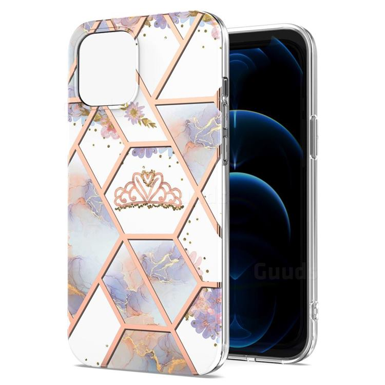 Crown Purple Flower Marble Electroplating Protective Case Cover for iPhone 13 Pro Max (6.7 inch)