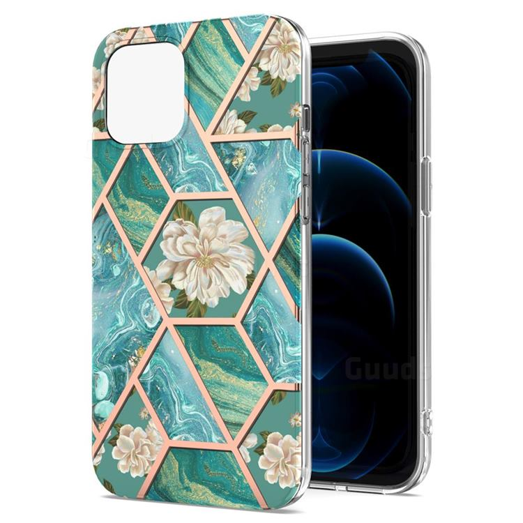 Blue Chrysanthemum Marble Electroplating Protective Case Cover for iPhone 13 Pro Max (6.7 inch)