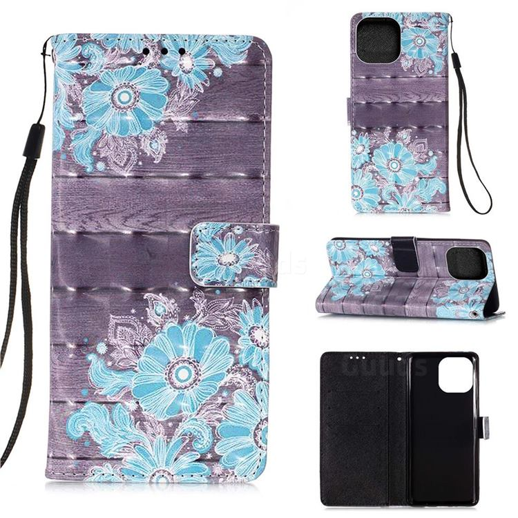Blue Flower 3D Painted Leather Wallet Case for iPhone 13 Pro Max (6.7 inch)