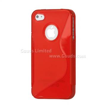 S Shape TPU Gel Case for iPhone 4S / iPhone 4 - Red