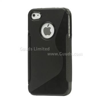 S Shape TPU Gel Case for iPhone 4S / iPhone 4 - Black