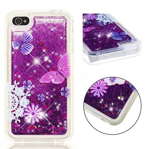 pretty nice 746ae 5cc73 Purple Flower Butterfly Dynamic Liquid Glitter Quicksand Soft TPU Case for  iPhone 4s 4