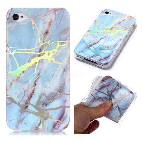 pretty nice 6d832 7efbe Light Blue Marble Pattern Bright Color Laser Soft TPU Case for iPhone 4s 4