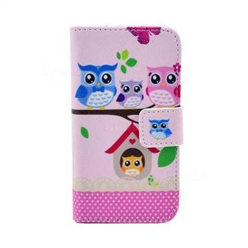 Family Owls Leather Flip Wallet Case Cover for iPhone 4s / iPhone 4